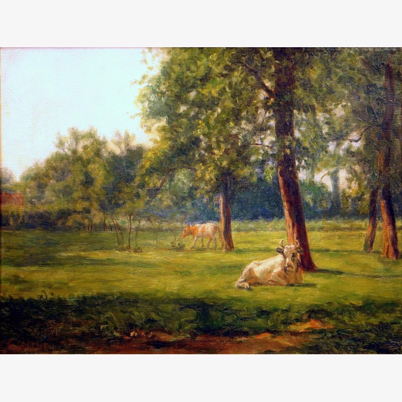 Remy Cogghe - Pasture with Two Cows