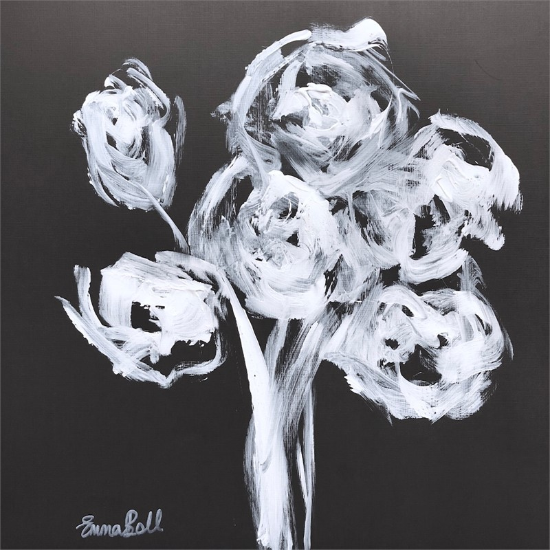 White on Charcoal Roses I, 2018