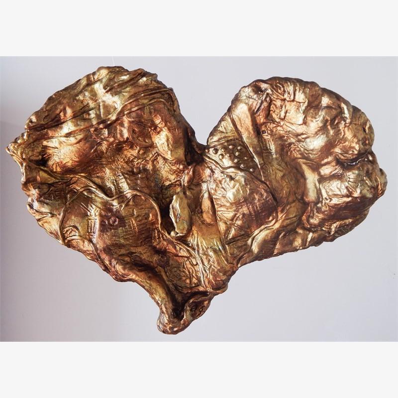 "Textured Gold Heart 18"" original price $1,900 PROMO $950"