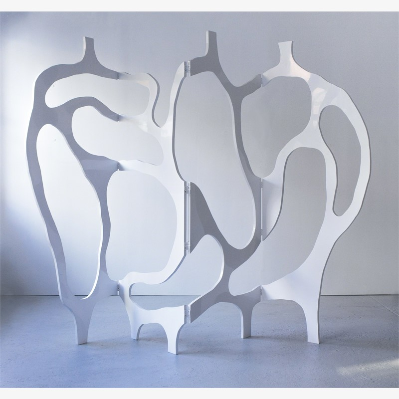 """Meanders"" Screen in white lacquer, 2012"