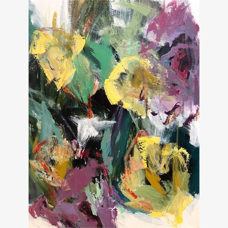 Purple & Yellow Flowers II, 2018
