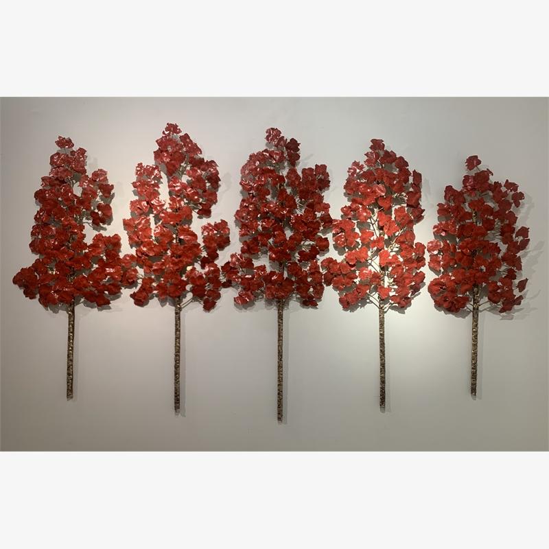 Aspen Grove - 5PC - 5 Stem - Translucent Red