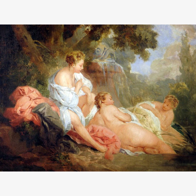 Follower of Francois Boucher - Three Bathers