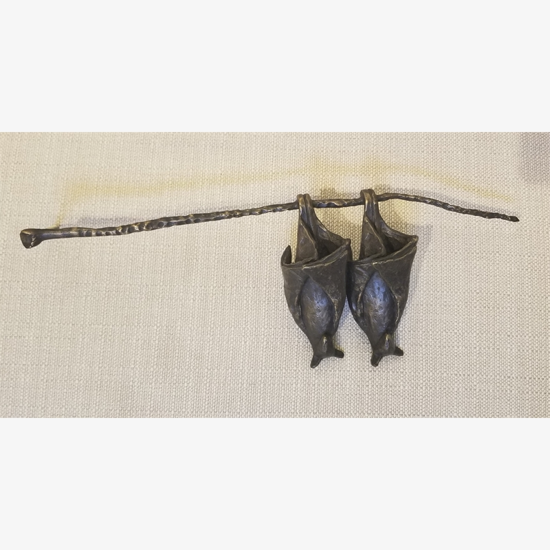 Two Temple Bats on a Branch, brown, 2019