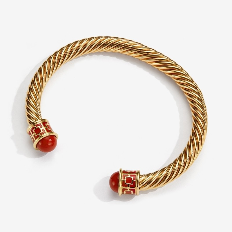 Maya Torque Red & Gold Bangle  by Halcyon Days