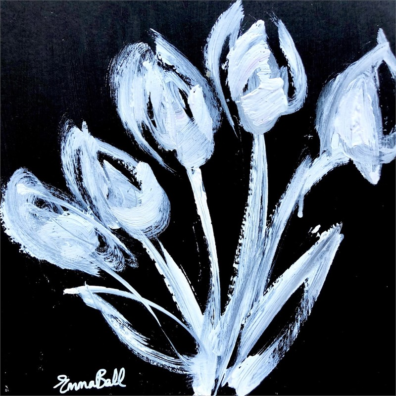 White on Black Tulips, 2018