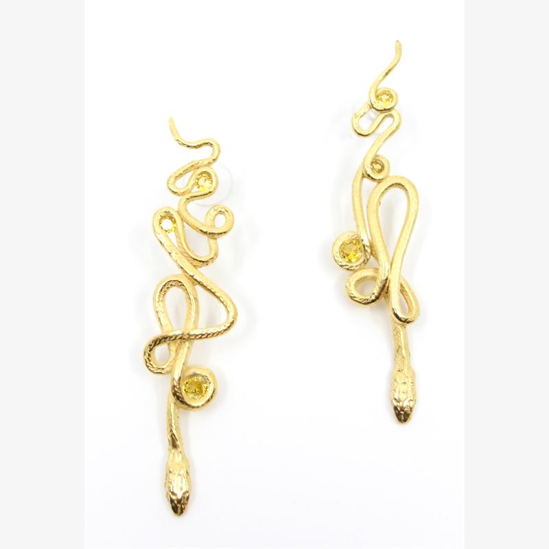 Gold Topaz Serpentine Earrings, 2019