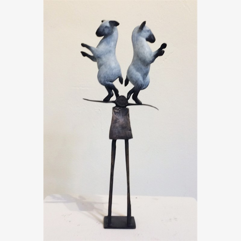 Balancing Burro, pair - white patina, 2019
