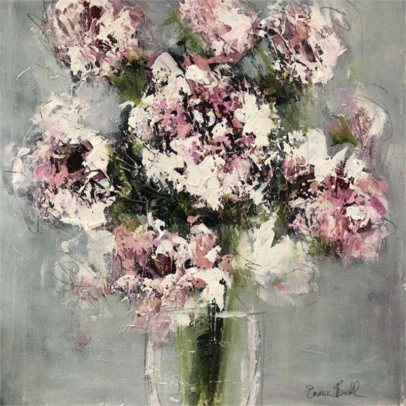 White Flowers in a Glass Vase, 2018