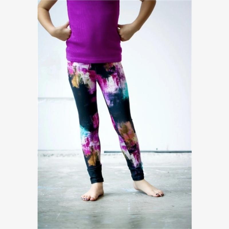 Girls Black Aqua Pink Pants (8-9) (Inventory 6), 2019