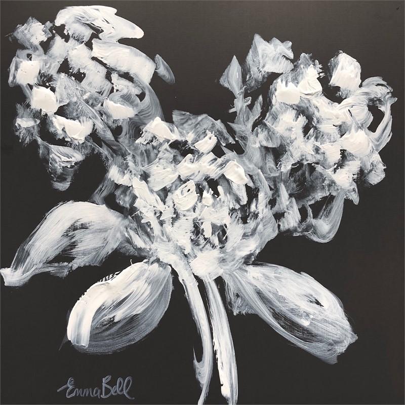 White on Charcoal 3 Hydrangeas, 2018