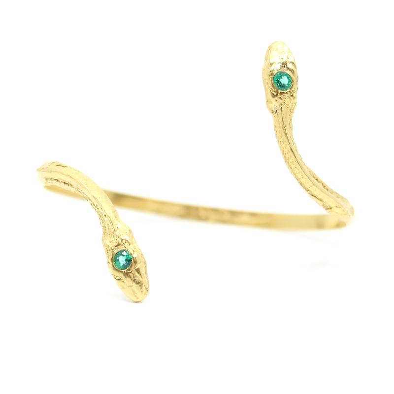 Gold Emerald Serpentine Cuff, 2019