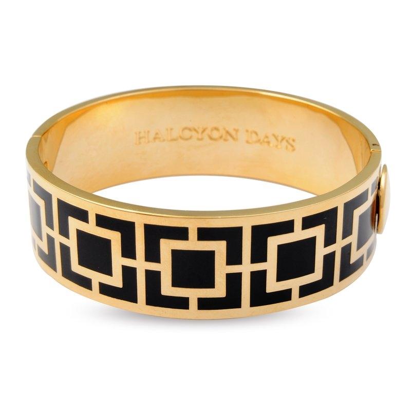 Maya Bangle Bracelet Black Gold  by Halcyon Days