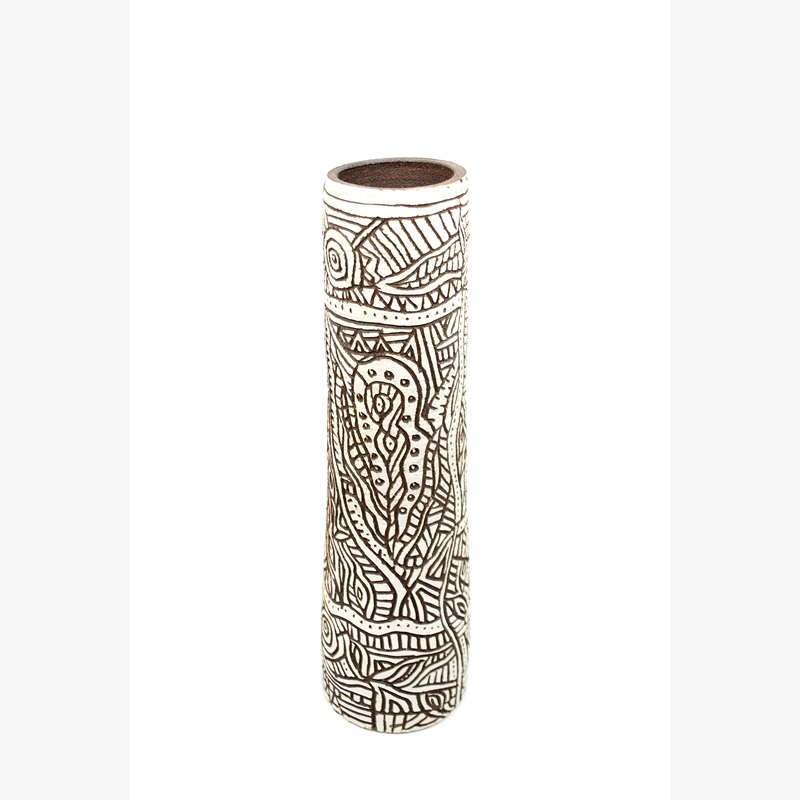 Tall Brown/White Vase With Designs I, 2019