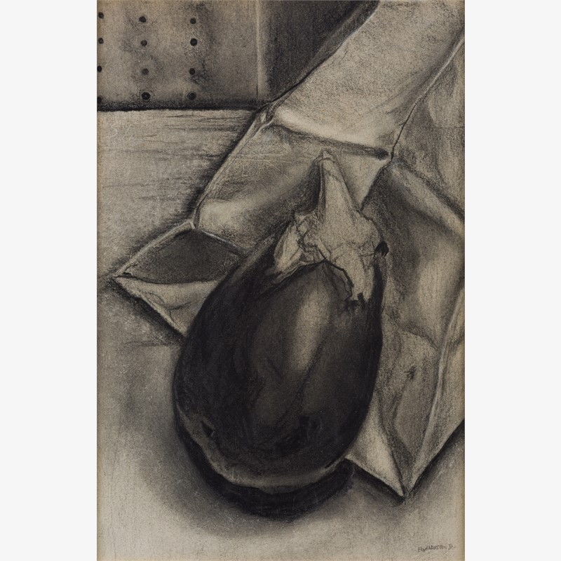 Eggplant and Paper Bag by Floyd Newsum