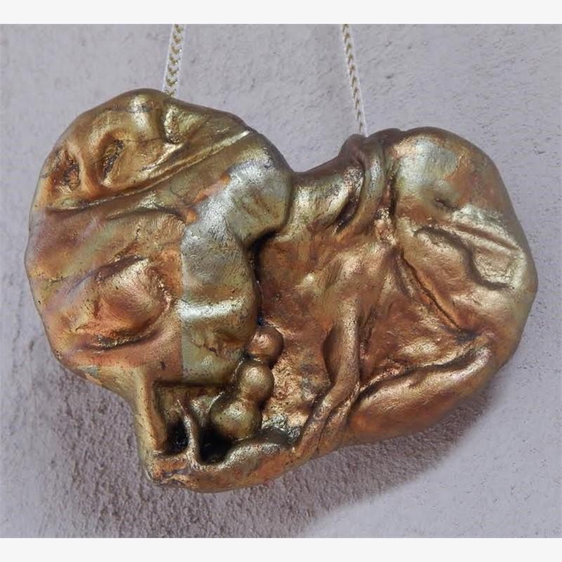 """Antique Gold Hanging Heart 4"""" original price $95 PROMO $48"""