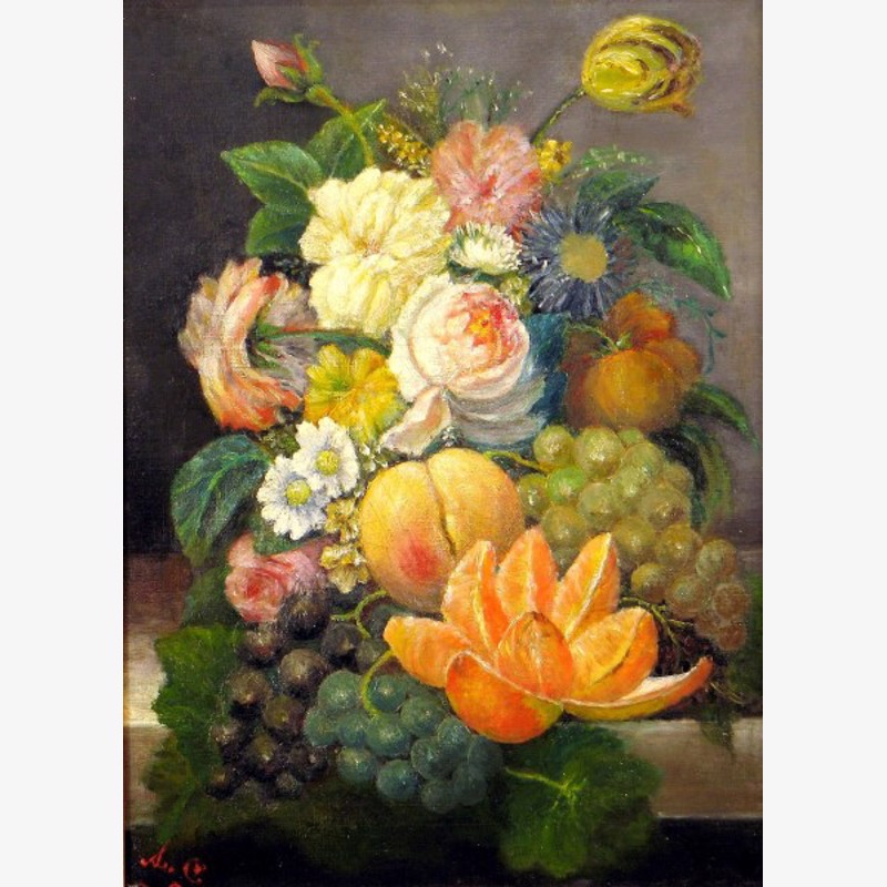 French School - Flowers and Fruit Still Life