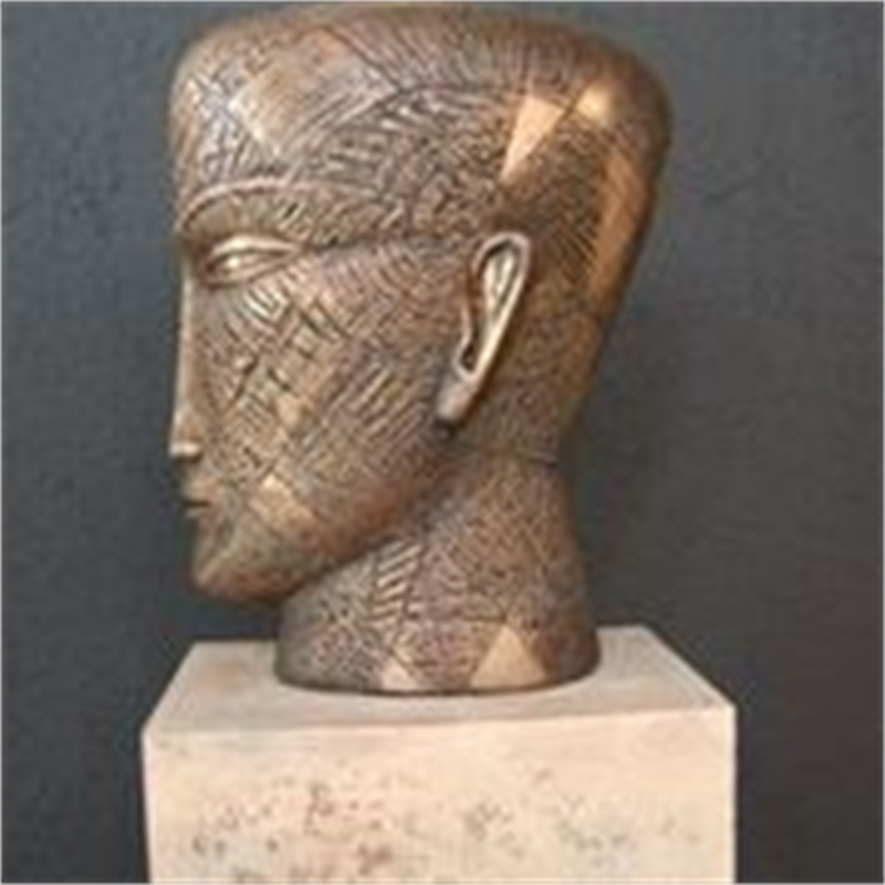 Bronze Head with Triangles, 2018