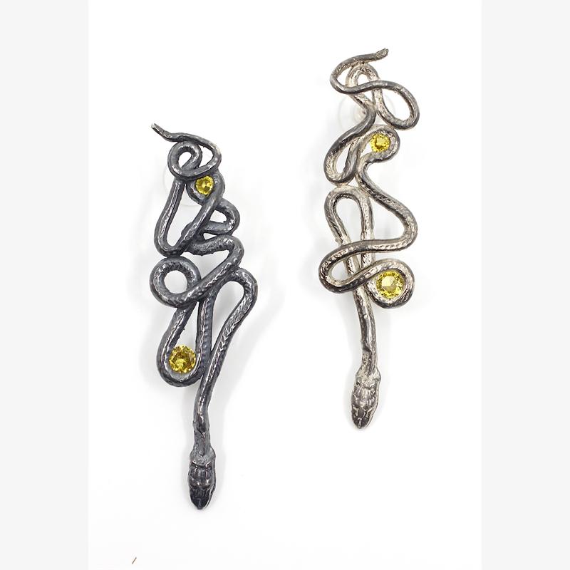 Yellow Topaz Serpentine Earrings, 2019