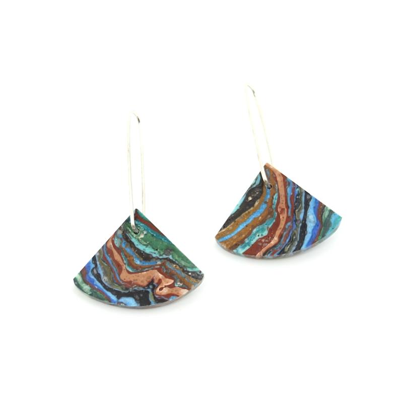 Rainbow Calsilica Earrings, 2019