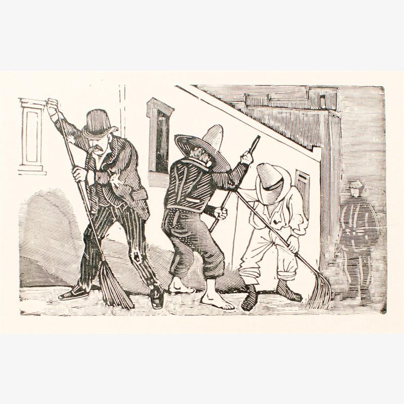 Los Patinadores (prisioneros no peligrosos barriendo las calles), ca. 1890-1899