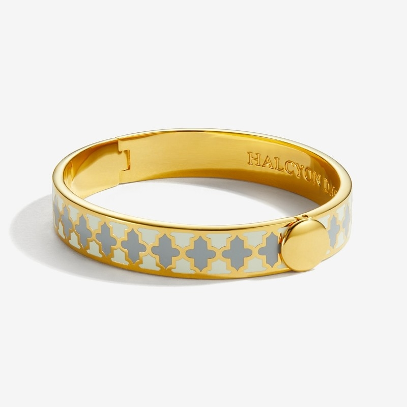 Agama Cream Grey Gold Hinged Bangle  by Halcyon Days