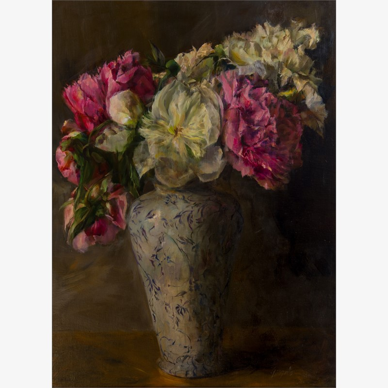 Peonies in Antique Vase