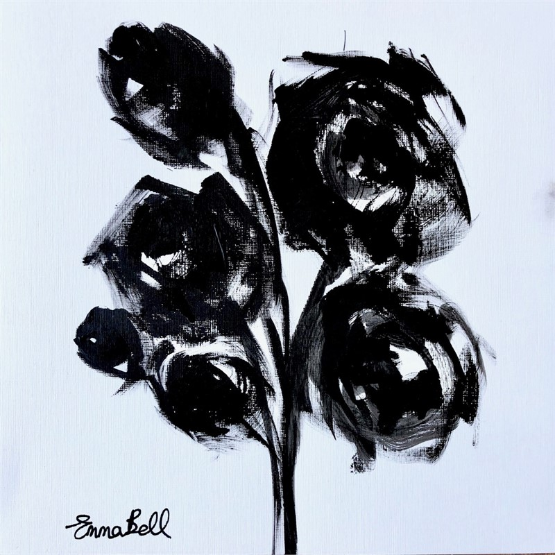 Black & White Roses and Buds, 2018