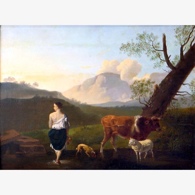 Italian School - Shepherd with animals