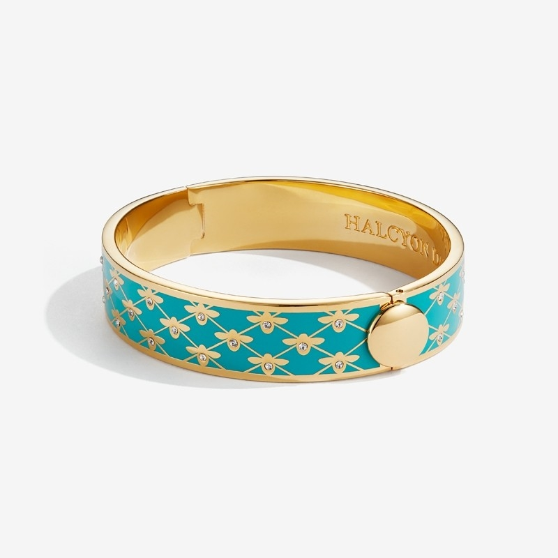 Bee Sparkle Trellis Turquoise & Gold Bangle by Halcyon Days