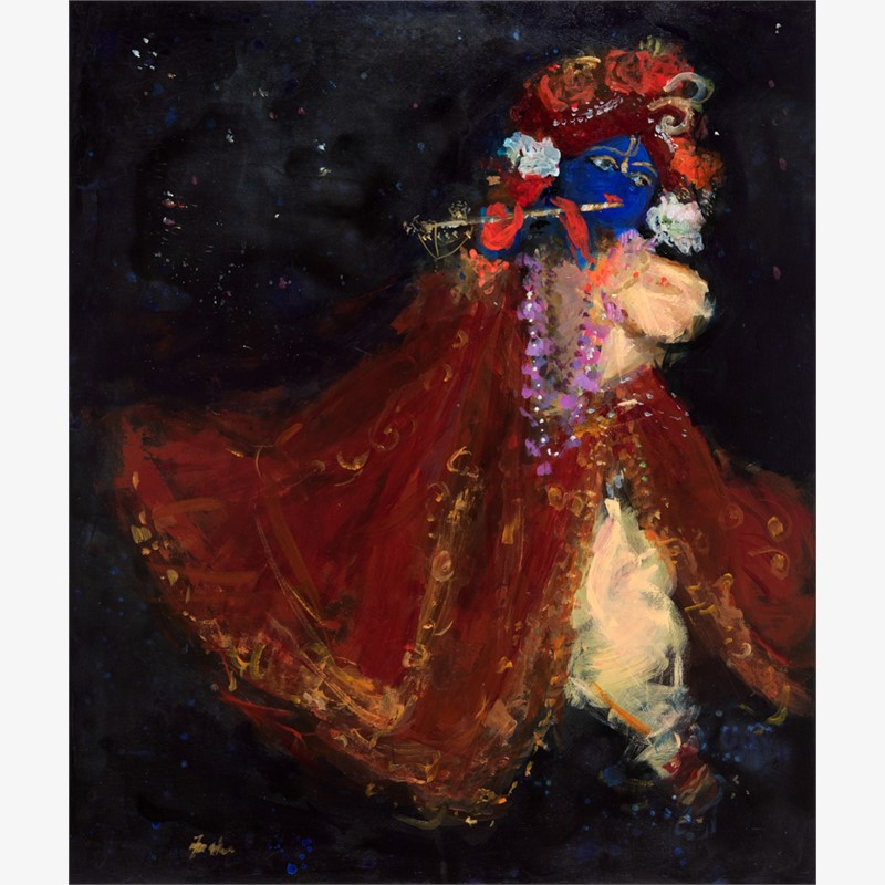 Krishna with Crimson Robe in the Cosmos, 2017