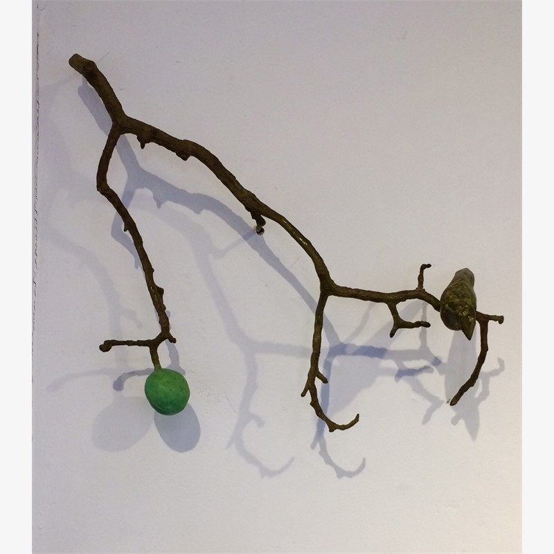 Wall Branch with 1 Bird and Fruit, brown