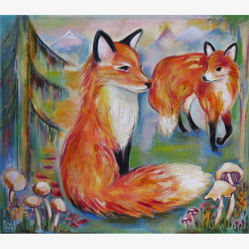 Flora & Fauna (2 foxes)