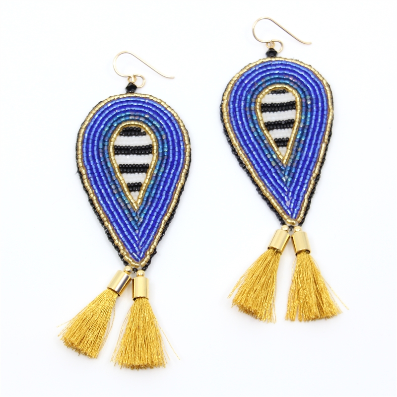 Beaded Gold Fringe Earrings, 2019
