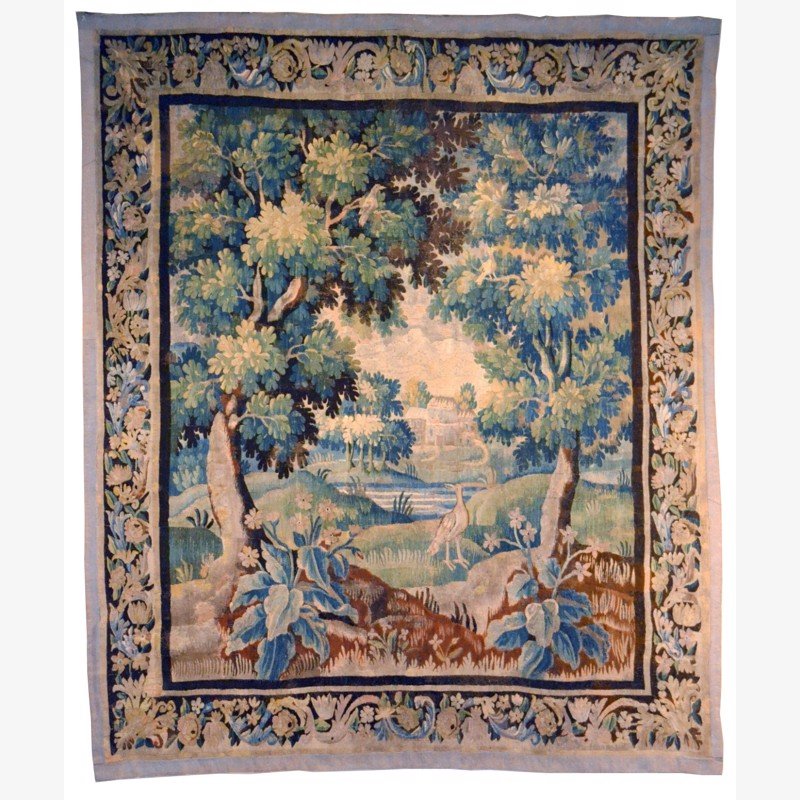 Aubusson Tapestry, French, early 18th century Foliage, flowers, birds and chateau, Early 18th century