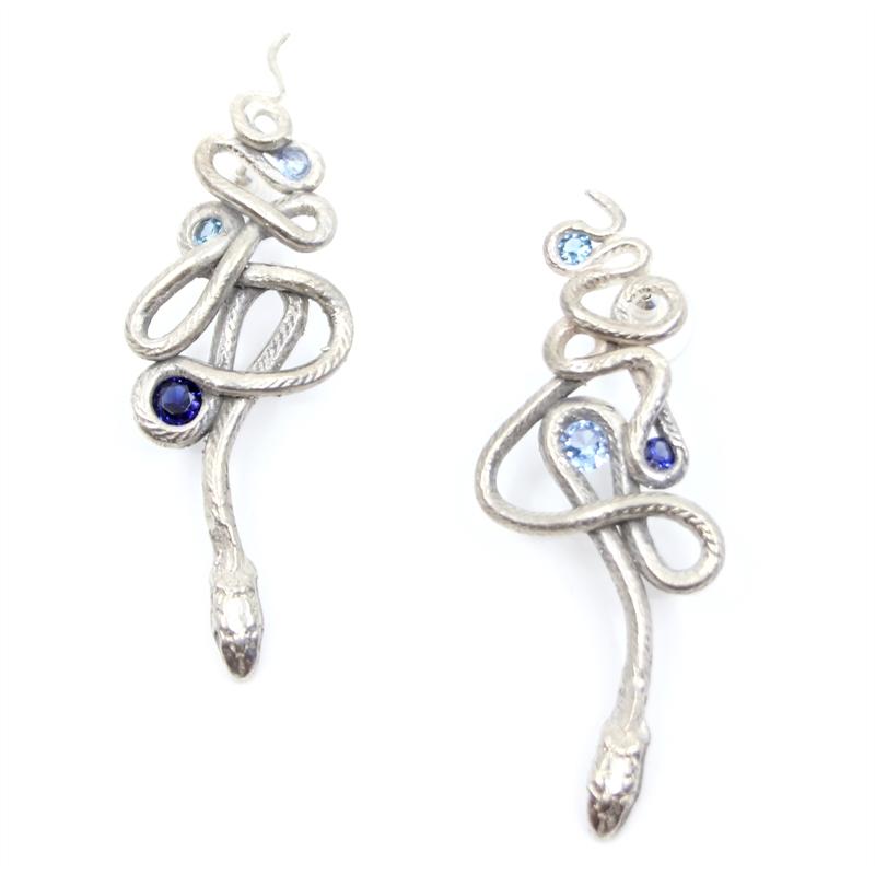 Sapphire Serpentine Earrings, 2019