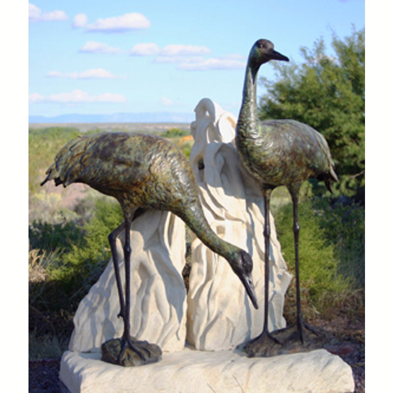 """""""Safe Haven"""" ~ Standing and Bowing (on separate limestone bases)  (1/3)"""