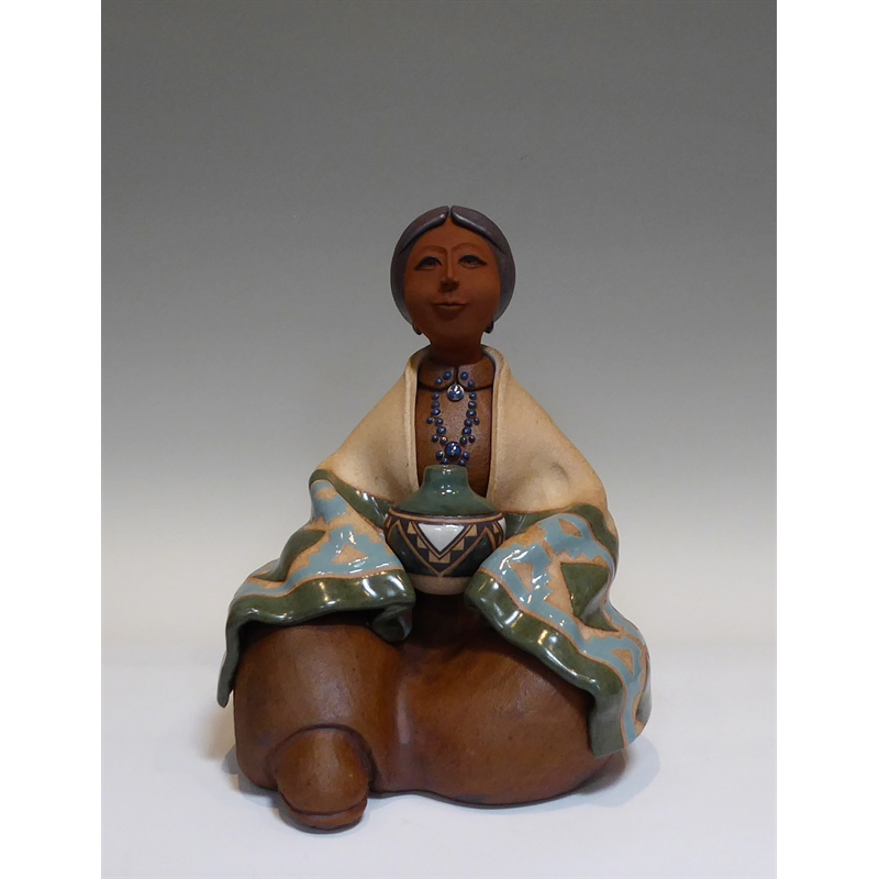 Acoma Maiden ~ Seated w/ Green Blanket & Pottery