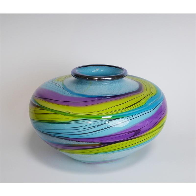 Color Ribbon Pueblo Vase-Blue, Yellow, Purple