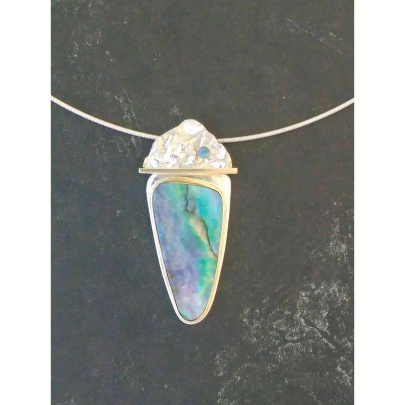 Mountain Lake Reflections ~ 14k Gold, Sterling Silver, Abalone ~  Reticulated and Fabricated at 19.5 x 49.6mm ~  Matching Earrings Available