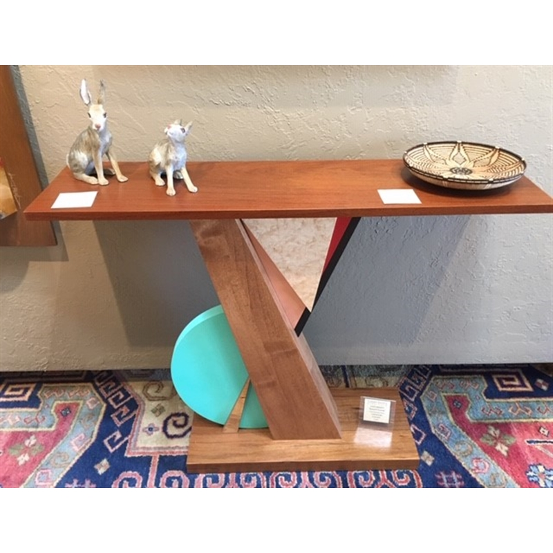 Shedue & Turquoise Table ~ Top & Base Shedue, Alder Veneer, Birds Eye Maple, Painted Finish & Copper