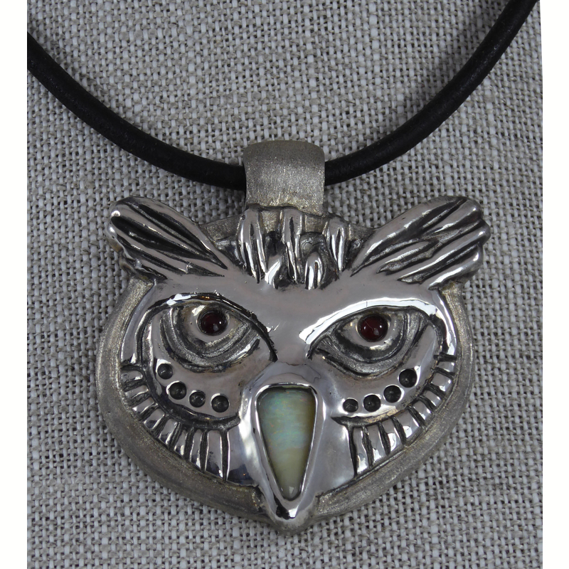 """Who Me"" - Owl Pendant ~ Sterling Silver with Australian Boulder Opal and Carnelian"