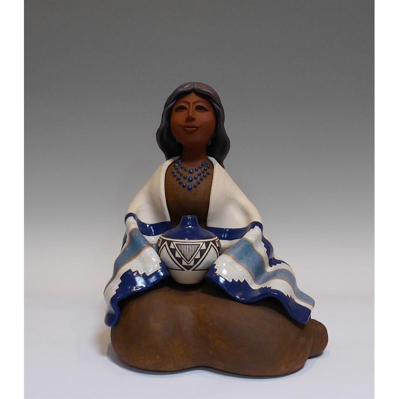 Navajo Women ~ Seated w/ Blue Blanket & Pottery