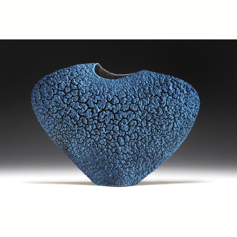 "Turquoise Blue & Sapphire Blue ""Patagonia"" Envelope Vase"