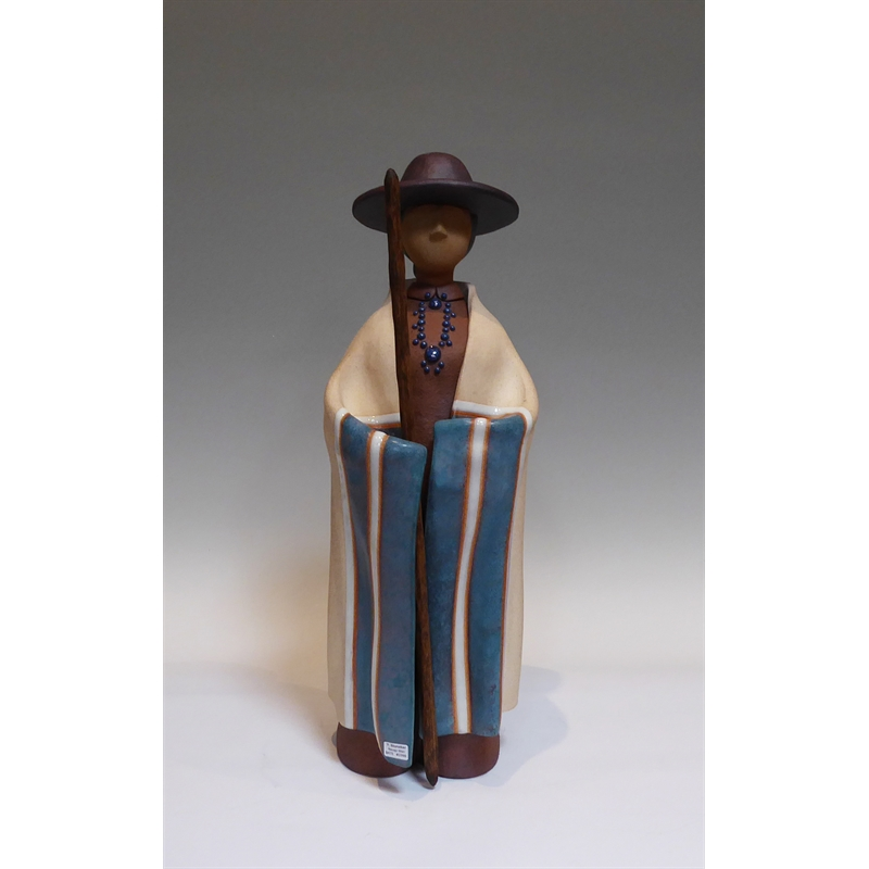 Navajo Farming Man ~ Standing Blue Blanket with Hat & Staff