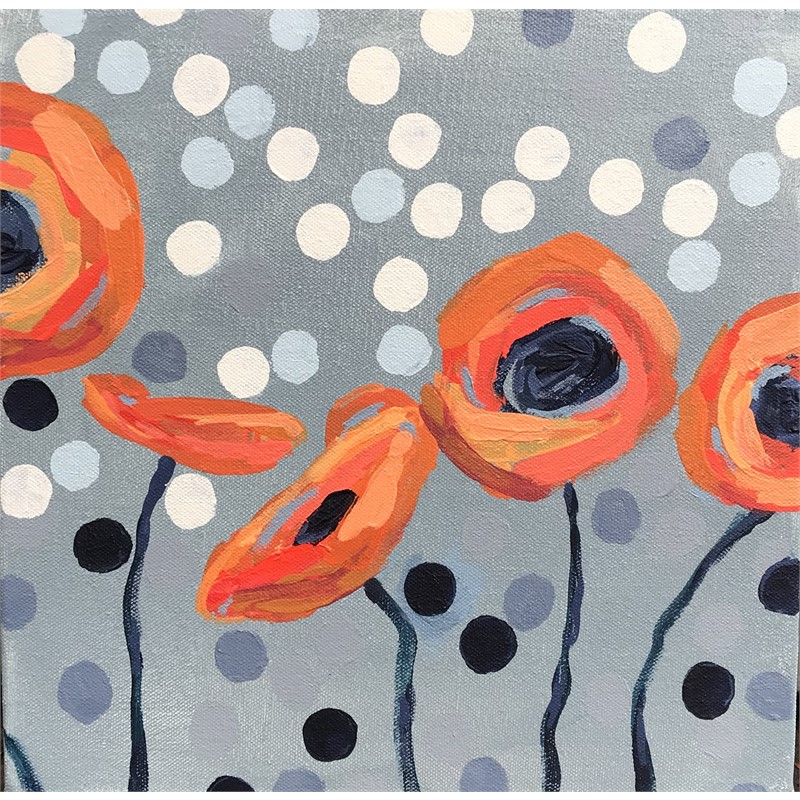 Orange Poppies and Dots