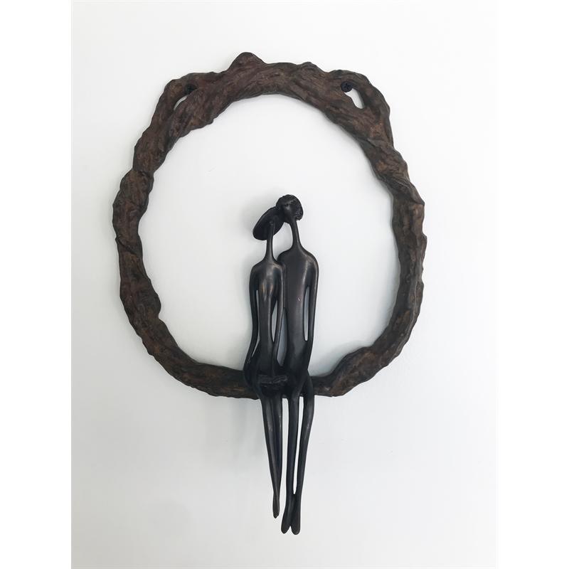 Wall Sculpture Round (Dark w/ Book), 2018