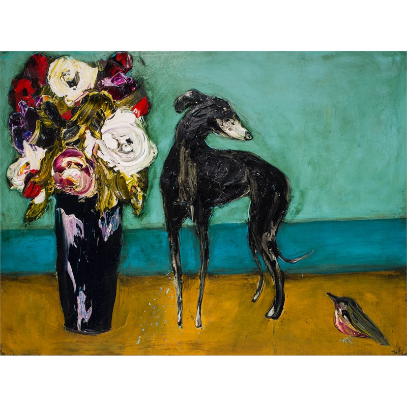 FLORAL STILL LIFE WITH DOG AND BIRD FSL40X30-2019-115, 2019