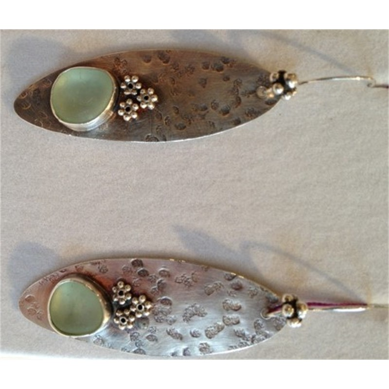 Sterling and Seafoam Green Earrings