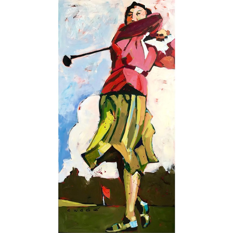 Golfer in Red Jacket by Carole Wade